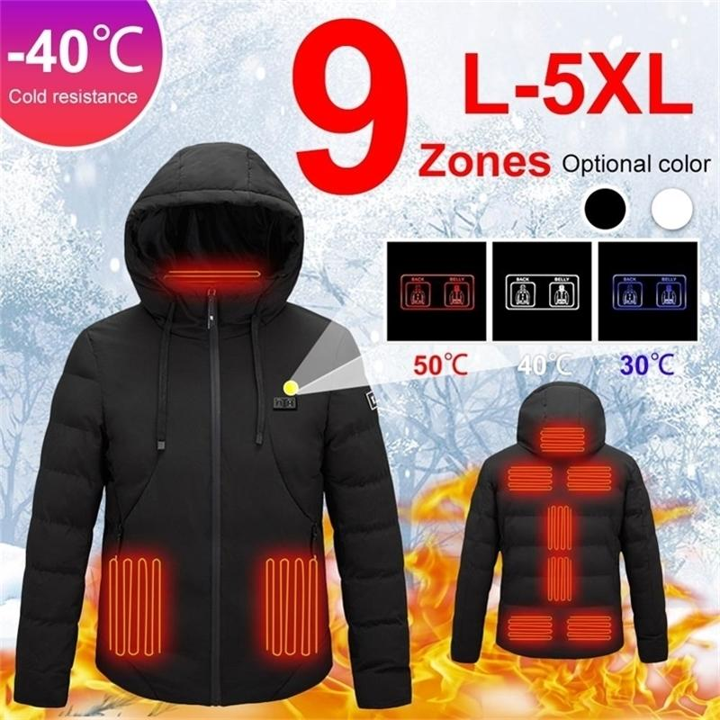 9 أماكن الرجال النساء usb ساخنة الملابس الحرارية الصيد الصدرية الشتاء التدفئة سترة L-5XL 201211