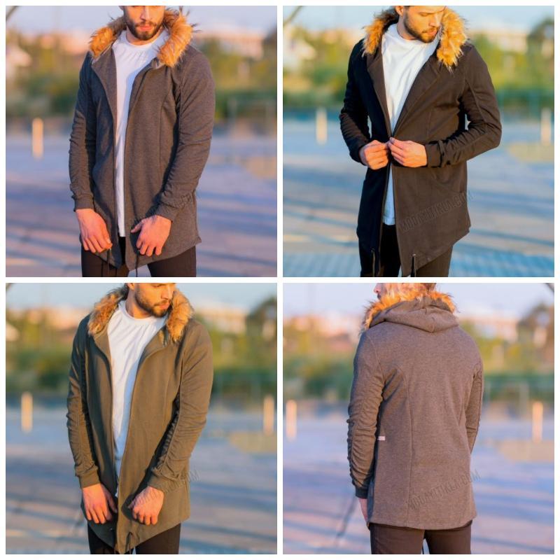 2021 Automne hiver NOUVEAU Homme Sweat à capuche occasionnel Fourrure Fourrure à capuche à capuche longue Jacket Homme Chaquetta Haute Qualité Coton solide épais