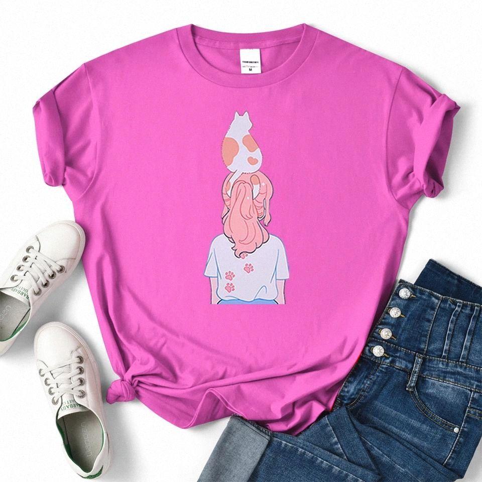 Kawaii fille chat griffe print imprimer nouveau vêtements femmes hip hop hop shops couple lâche t-shirts personnalité coton t-shirts femmes été # w50u