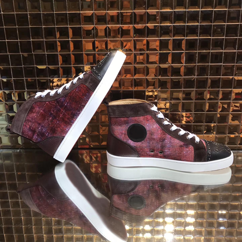 Para mujer para hombre de la nueva manera la parte inferior roja de pisos zapatilla de deporte unisex de la manera ocasional clásico del cuero auténtico top del alto de los zapatos
