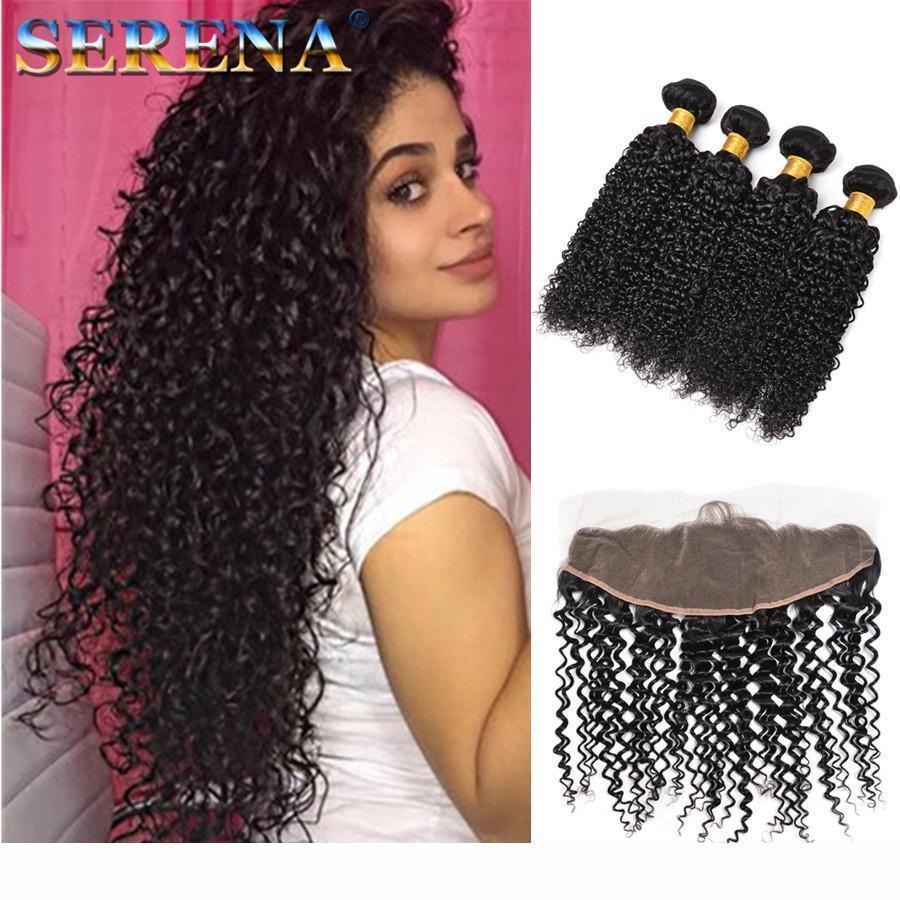Mongolian Kinky Cabelo Curly com fecho 13x4 Lace frontal 4 pacotes com fechamento frontal 7a pacotes de cabelo com laço frontal e pacotes