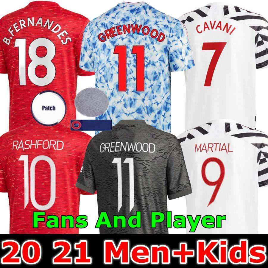 Versão do jogador Manchester 2020 2021 B.Fernandes United Soccer Hrfc Jersey Rashford Crianças Jerseys Homem Futebol Camisa 20 21 UTD Tops Equipamento