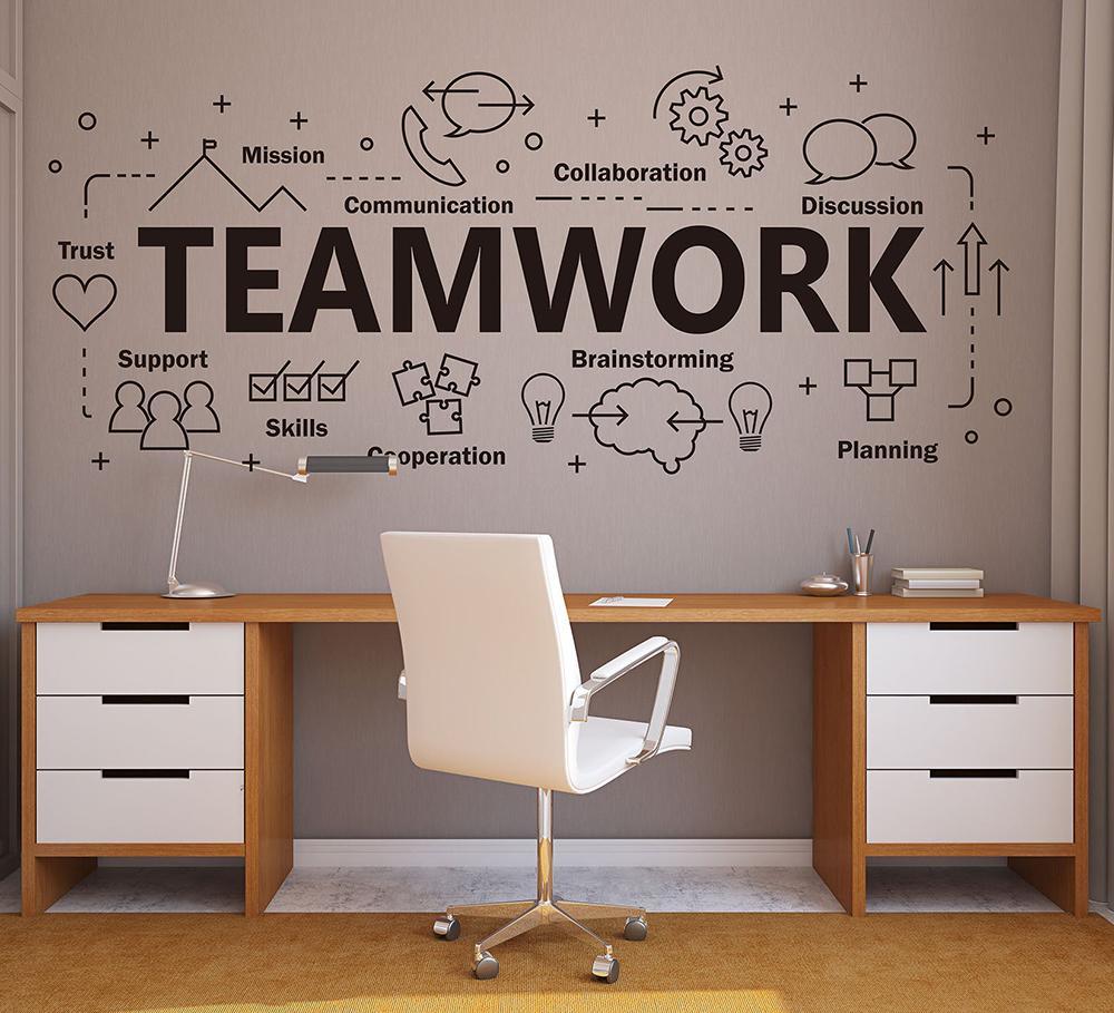 Gran oficina de trabajo en equipo Muro decoro inspirador Cita inspirada Trabajo en equipo Cooperación Plan de vinilo Etiqueta de la pared para la decoración de oficinas Z819 201130