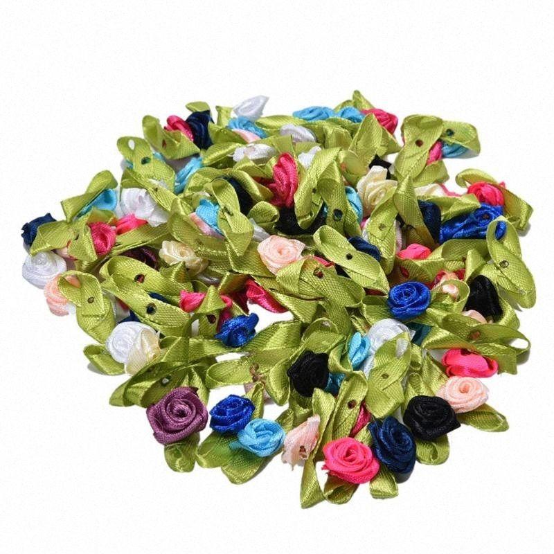 100 Pcs DIY Festa Rosas da fita apliques cetim Scrapbooking costura artesanal casamento Small Craft Decor On Sale Xmbe #