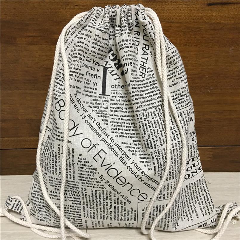 Scarpe Yile Cotone Lino dello zaino Drawstring Travel Book Bag Ordinati Borsa giornale inglese 1217 4