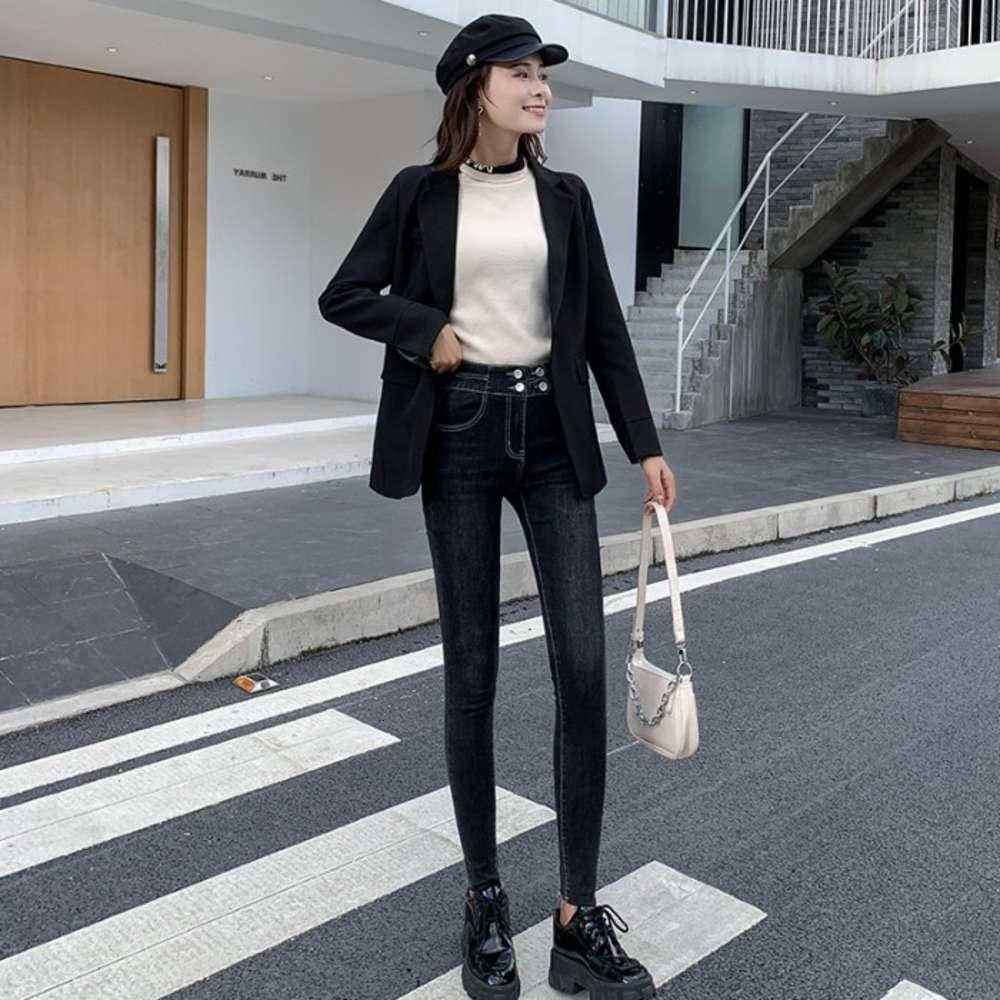 Trendy Denim Frauen 2021 Frühling Neue elastische enge Leggings Hohe Taille Schnalle Bleistifthose