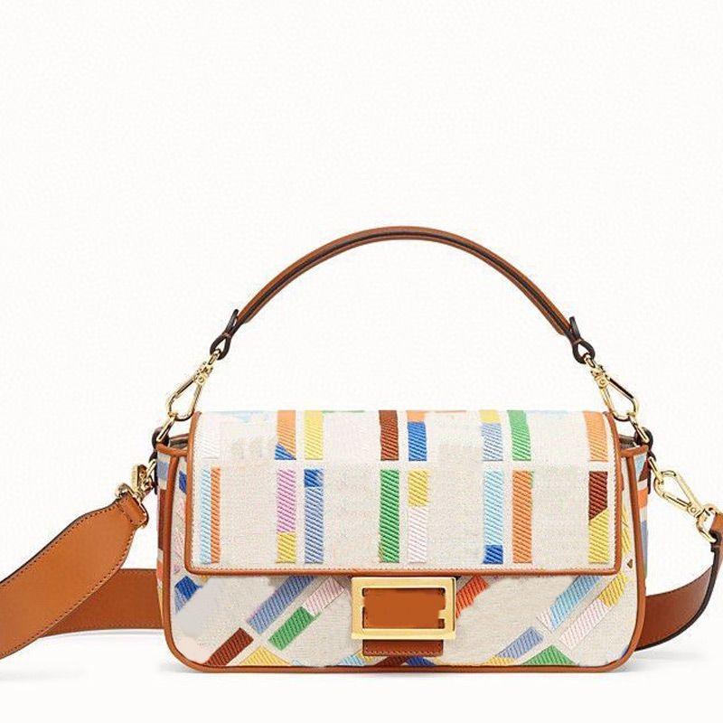 체인 크로스 바디 가방 핸드백 캔버스 지갑 패션 자수 편지 패치 워크 색상 고품질 HASP 하드웨어 버클 여성 지갑