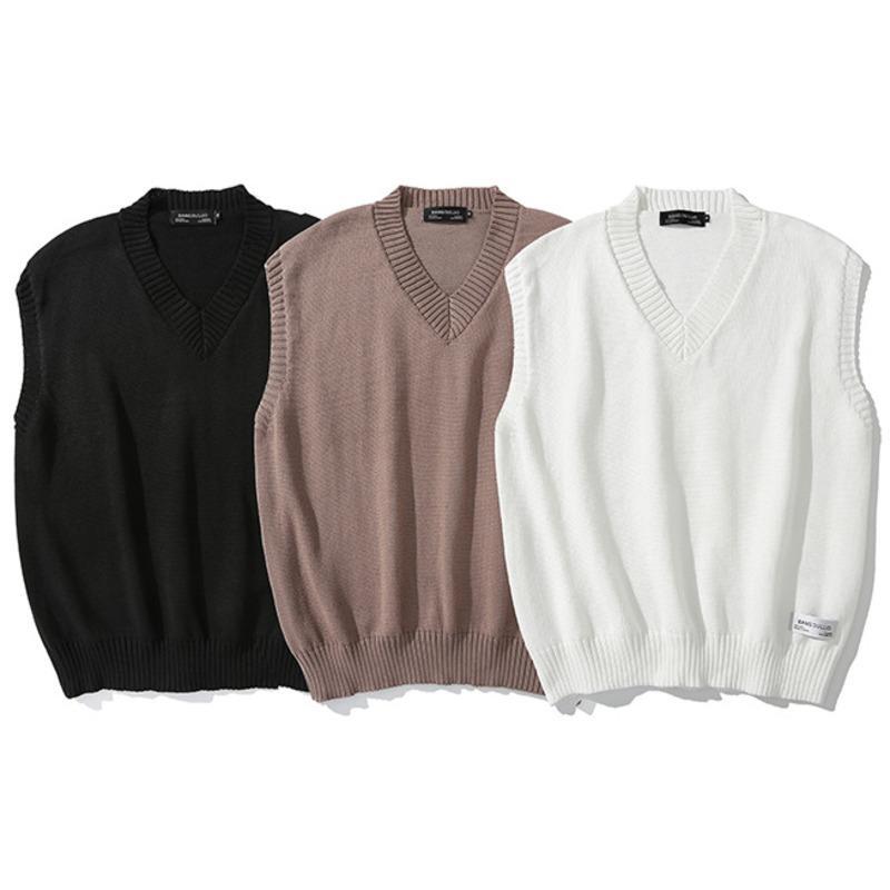 Japan Style maniche Maglione Uomini Knit Vest autunno 2020 di colore solido di alta qualità coreano vestiti Brown Black Pullover uomo allentato 0927