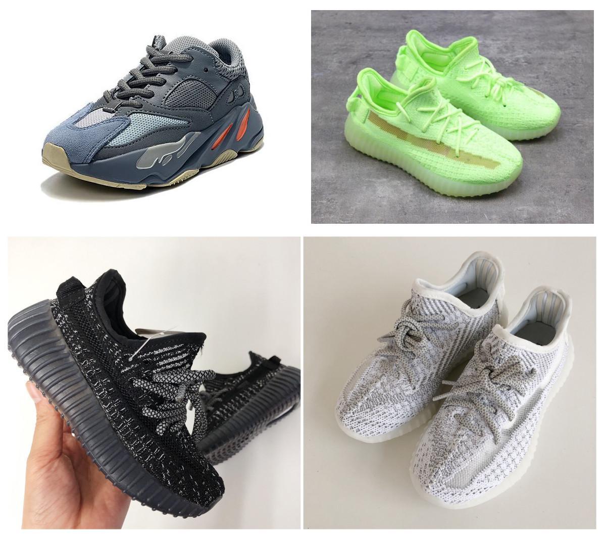 Zapatos nuevos 2020 niños Kanye West corredor de la onda Israfil Yecheil Negro zapatos corrientes Formadores para el muchacho de la niña de los niños con la caja
