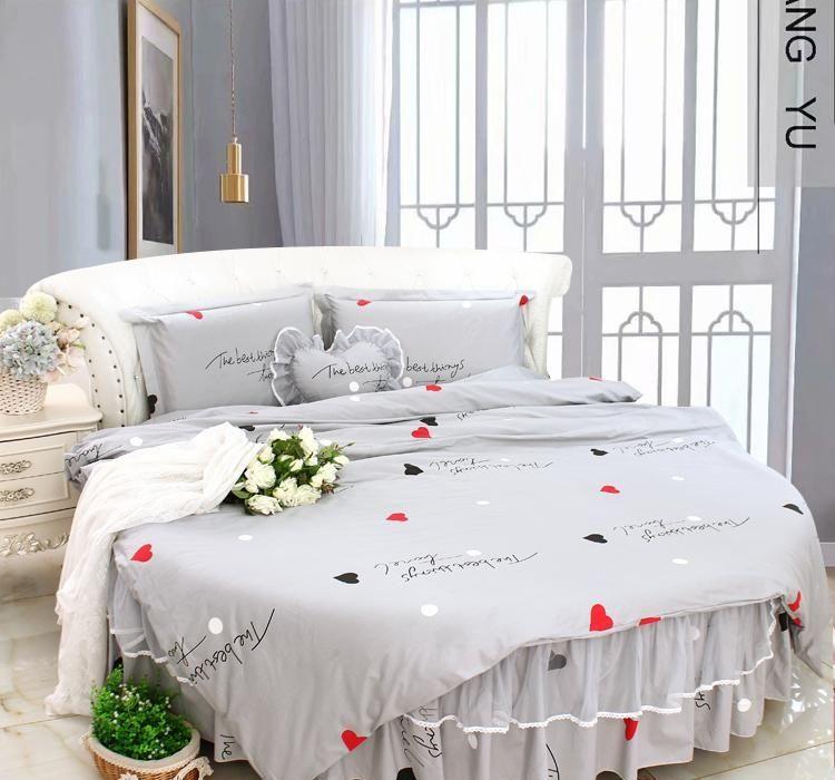 Grey Cotton Round Bed Bedding Sets Queen Super King Size Duvet Cover Sets Bed 4pcs Set QuiltCover Round Bed Sheet Morden Round BeddingGQ