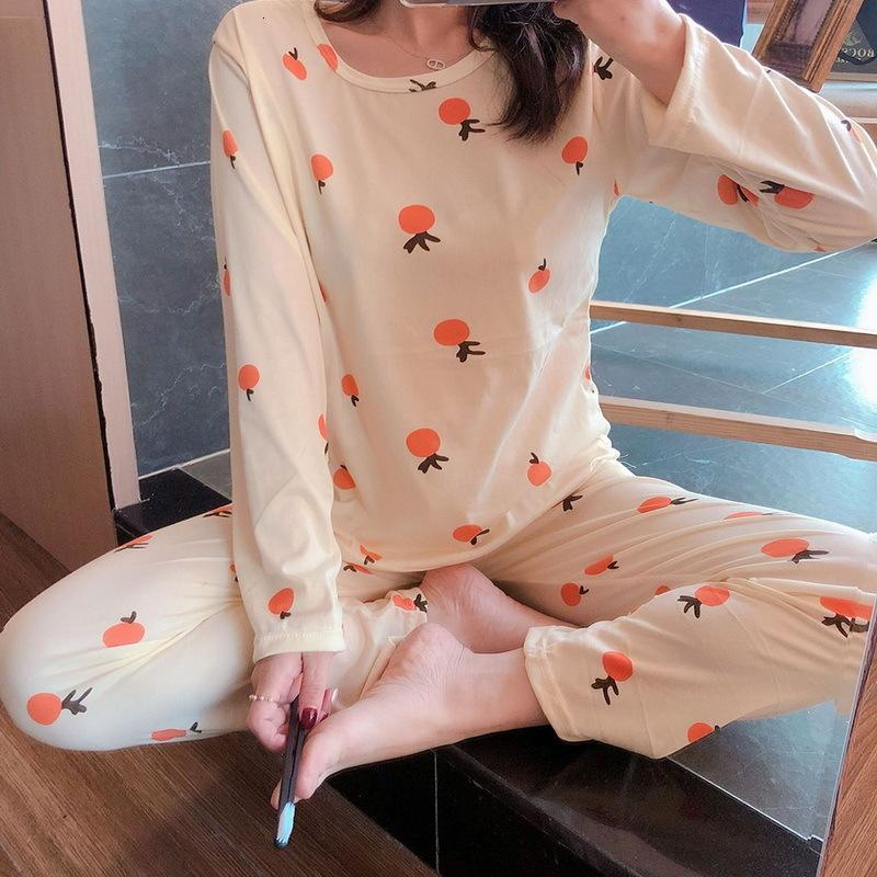Frauen Pyjamas Set Frühling Herbst Neue dünne Cartoon Gedruckt Langarm Nette Nachtwäsche Casual Homewear Weibliche Pyjamas 2020