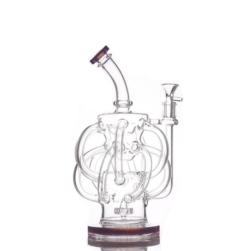 Glas Wasserbongs DAB RIG SUPERFEX Recycler Rigs 12 Recycler Rohr Wasserleitung 14mm Gelenköl-Rigs-Bongs mit Kopfschüssel