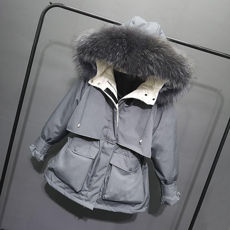новая белая утка вниз вниз пуховик средней школы куртка женская длинный комбинезон талии и толщиной моды пальто 201014