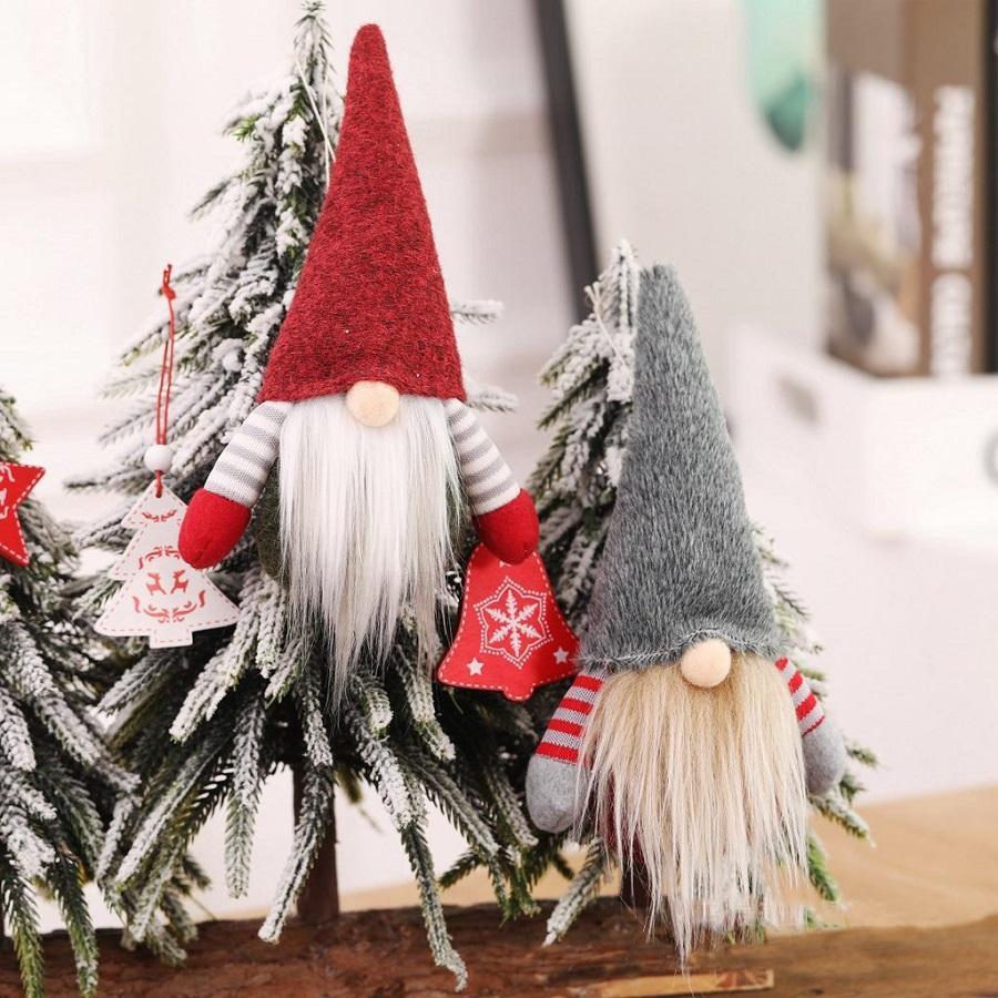 2020 Noel El Yapımı İsveç Gnome İskandinav Tomte Santa Nisse Nordic Peluş Elf Oyuncak Masa Süs Noel Ağacı Süslemeleri