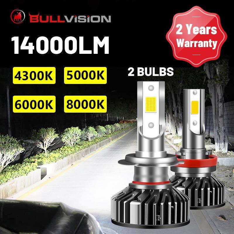 BullVision auto LED fari 2pcs Auto Light Lampadine H7 H4 H11 H8 H9 9005 9006 3 4 4300K 5000K 6000K 8000K luce di esecuzione automatica
