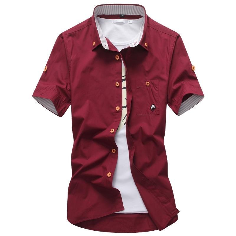 Venta caliente casual hombres camisas calidad sólido diseño único vestido camisa de manga corta camisa masculina 11color camisas hombres M-5XL Y200107