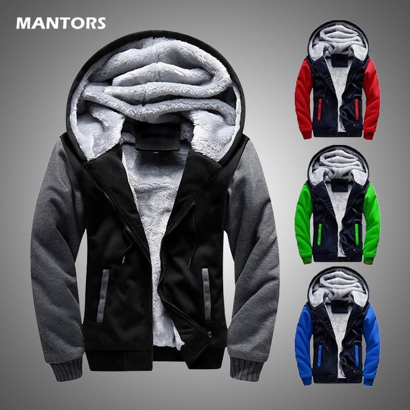 Hiver Hommes Sweats à capuche en molleton chaud Sweat à capuche Homme velours Marque Manteau Mode sport Zipper Hoodie Vêtements pour hommes 2020 Euro