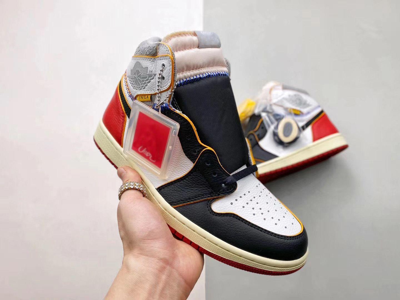 2020 Год выхода Аутентичного Союз X High OG NRG Air 1 Лос-Анджелес Черного Toe Синего носок 1S Mens Basketball обувь Открытых кроссовки с оригинальной коробкой