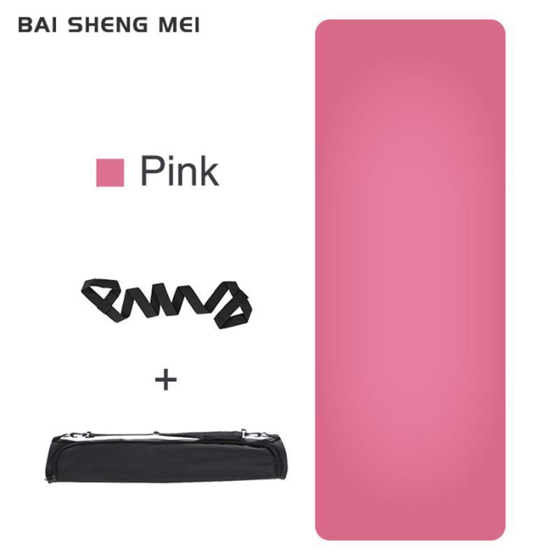 Baishengmei 5mm Naturkautschuk Yoga Matte Umweltfreundliche PU-Material Non-Slip-Matte für Yoga Anfänger Fitness Gymnastik Matten