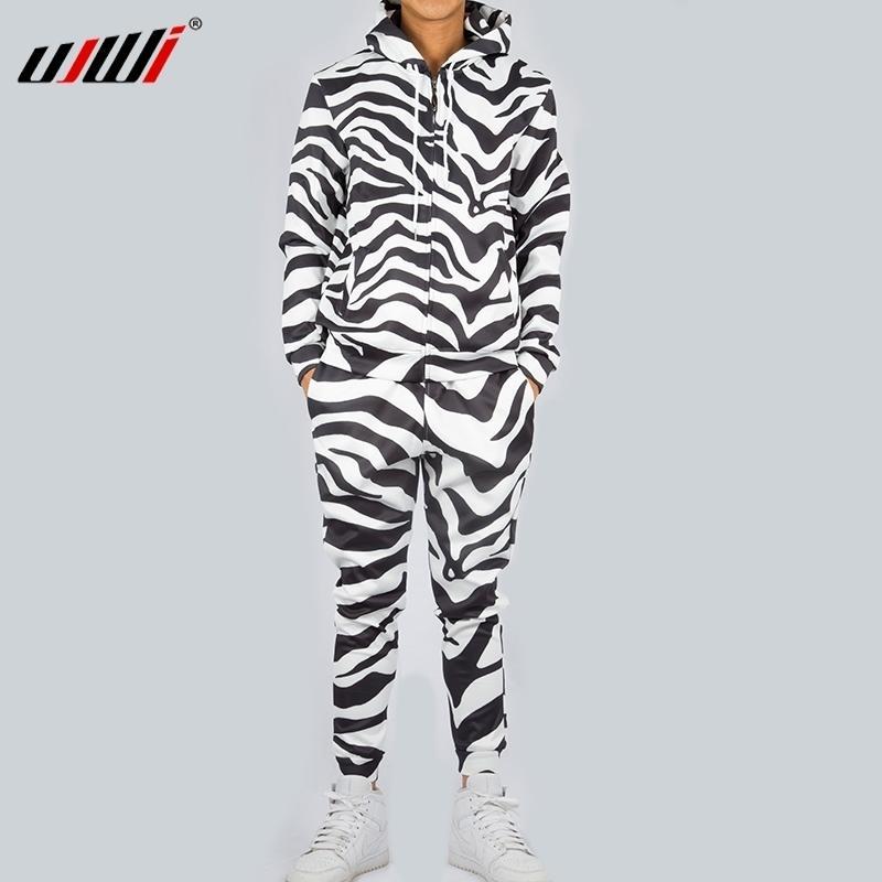 UJWI Fashion Hommes / Femmes 2 Pièces Suiviau Set Harajuku Black tandis que Zebra Unisexe Hoodies Sportswear Pant Suit Vêtements de remise en forme LJ201117