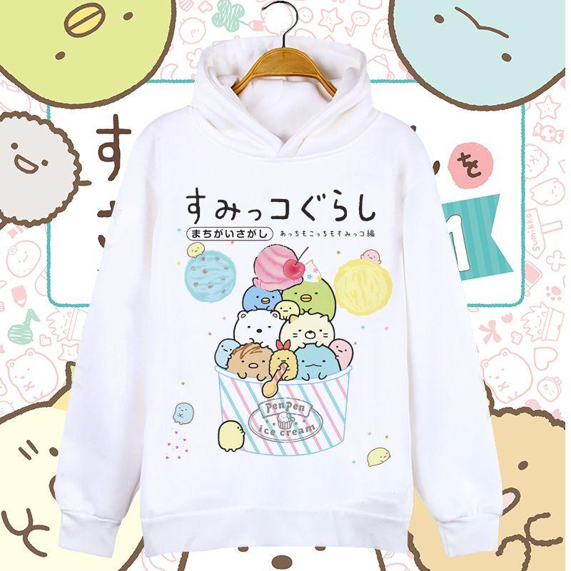 Women Hoodies Anime Cartoon Sumikko Gurashi Lovely Bear Penguin Casual Boys Girls Kids Coat Unisex Hooded Sweatshirts Costumes F1202