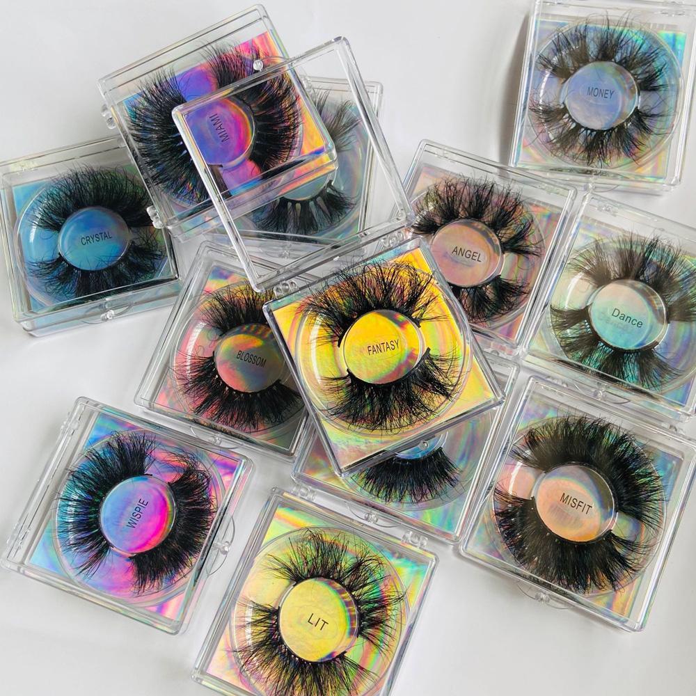 Grosso longo 25mm Mink Cílios Falsos Extensões Super Soft Vivid Fake Lashes Lashes Mink Maquiagem Acessório 12 Modelos Disponíveis