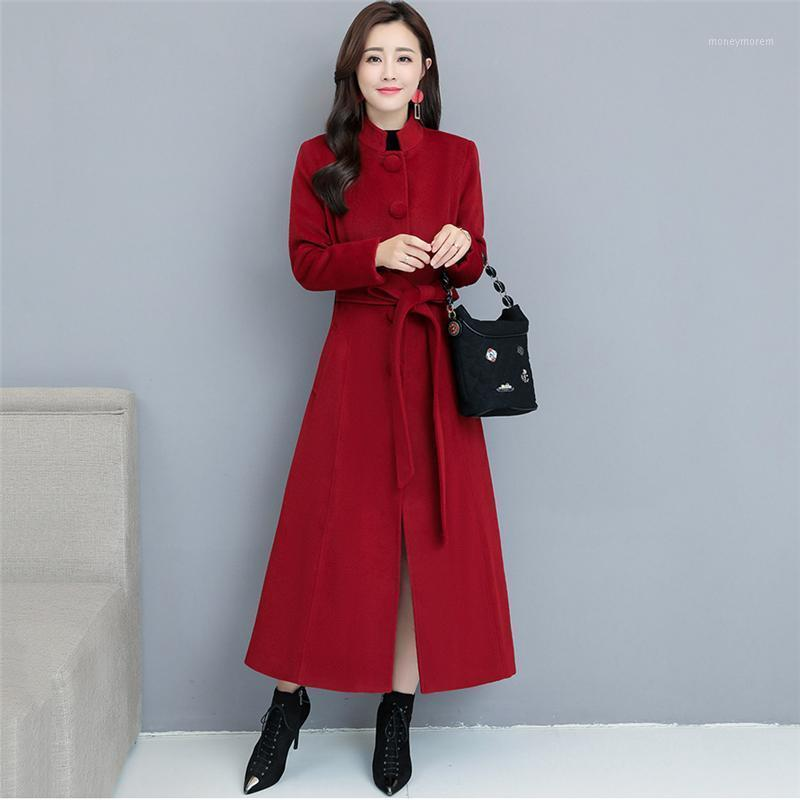 Invierno Nuevo Temperamento de CashMere Coat Colllar Color Ultra Pure Color Largo Paño Abrigo Mujer Over-the-Knee Trench1