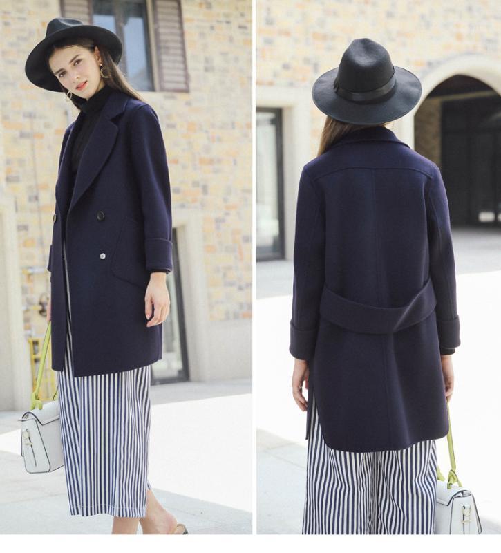 Nouveau manteau en laine à double boutonnage d'hiver Femmes Souche de douceur européen Trench pour femmes Sac à manches longues LX19191