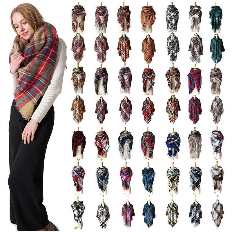 2020 neue Designer-Frauen Winter Plaidschal Quadrat Bandana Kaschmir verdicken Decke warmen, weichen Schal gestrickt und Wraps