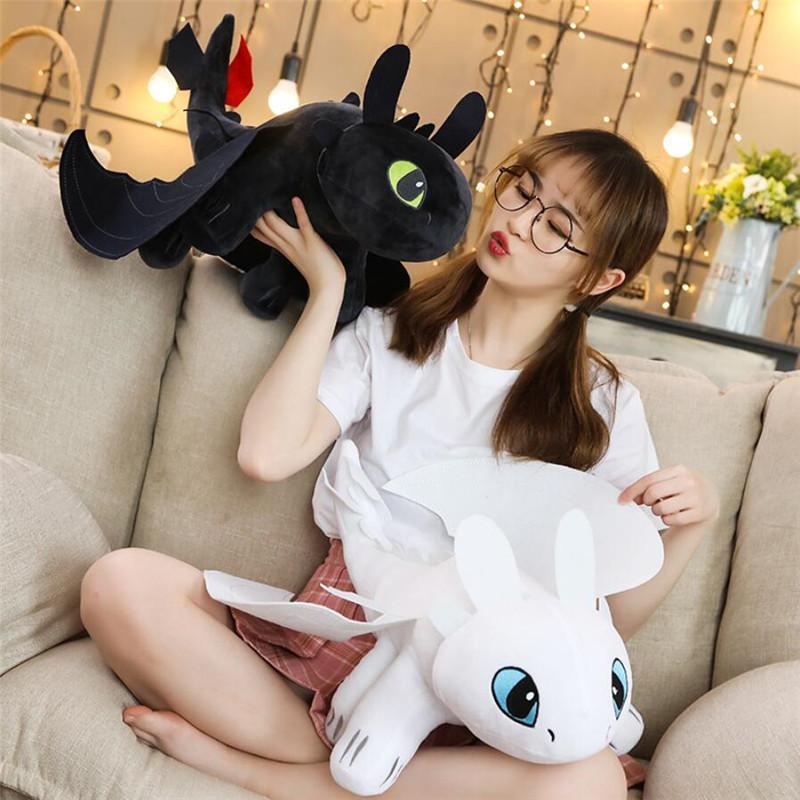 35/45/60 cm Come addestrare il tuo drago 3 anime da denti figura notturna furia luce furia giocattoli del drago peluche giocattoli per bambini LJ200828