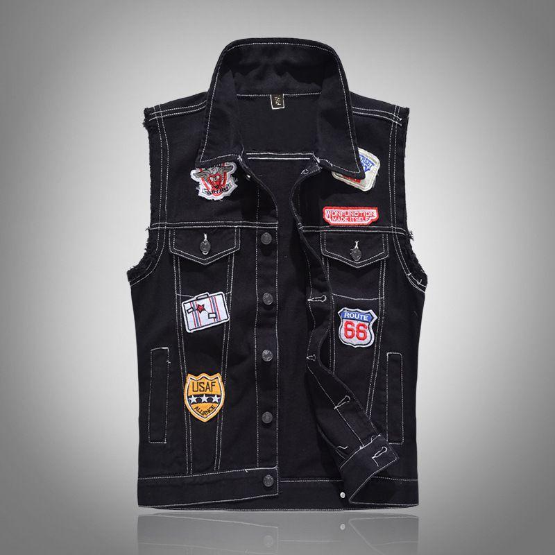 클래식 빈티지 남성 청바지 조끼 민소매 재킷 패션 패치 워크는 펑크 록 스타일 카우보이 닳은 데님 조끼 탱크 1003 찢어진 디자인