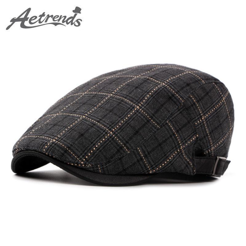 [AETRENDS] Beret 2020 novo inverno xadrez Boinas chapéus da forma dos homens Caps Z-5262