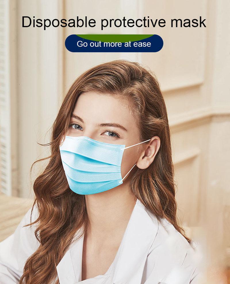 Einweg-Gesichtsmasken mit elastischem Ohr Loop 3 Ply atmungsaktiv und komfortabel für Blocking Staubluftverschmutzung Protection Pack Masken