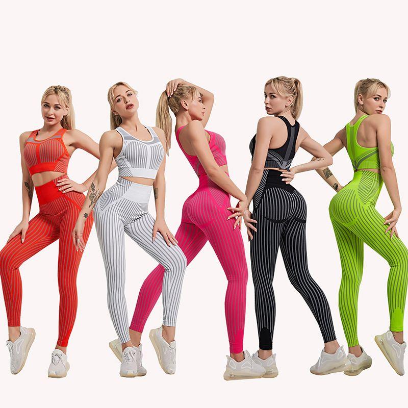 2020 Moda Yoga Set Bra Leggings Terno de esportes do New Mulheres roupa da aptidão Sexy Stripe Gym Clothing