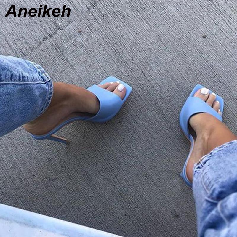 Aneikeh NUEVO 2020 del dedo del pie cuadrado de fino tacón alto deslizamiento de las mujeres sandalias de moda en los zapatos de playa del verano del partido al aire libre Zapatillas vestido de las señoras