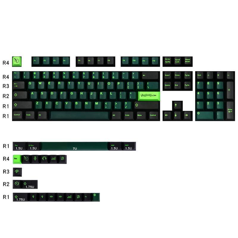 127 Ключи Wavez Звуковой дизайн Сублимация PBT Заражение Carving Колпачки вишню 3000 Для Вишневый Переключатель механический игровой клавиатуры