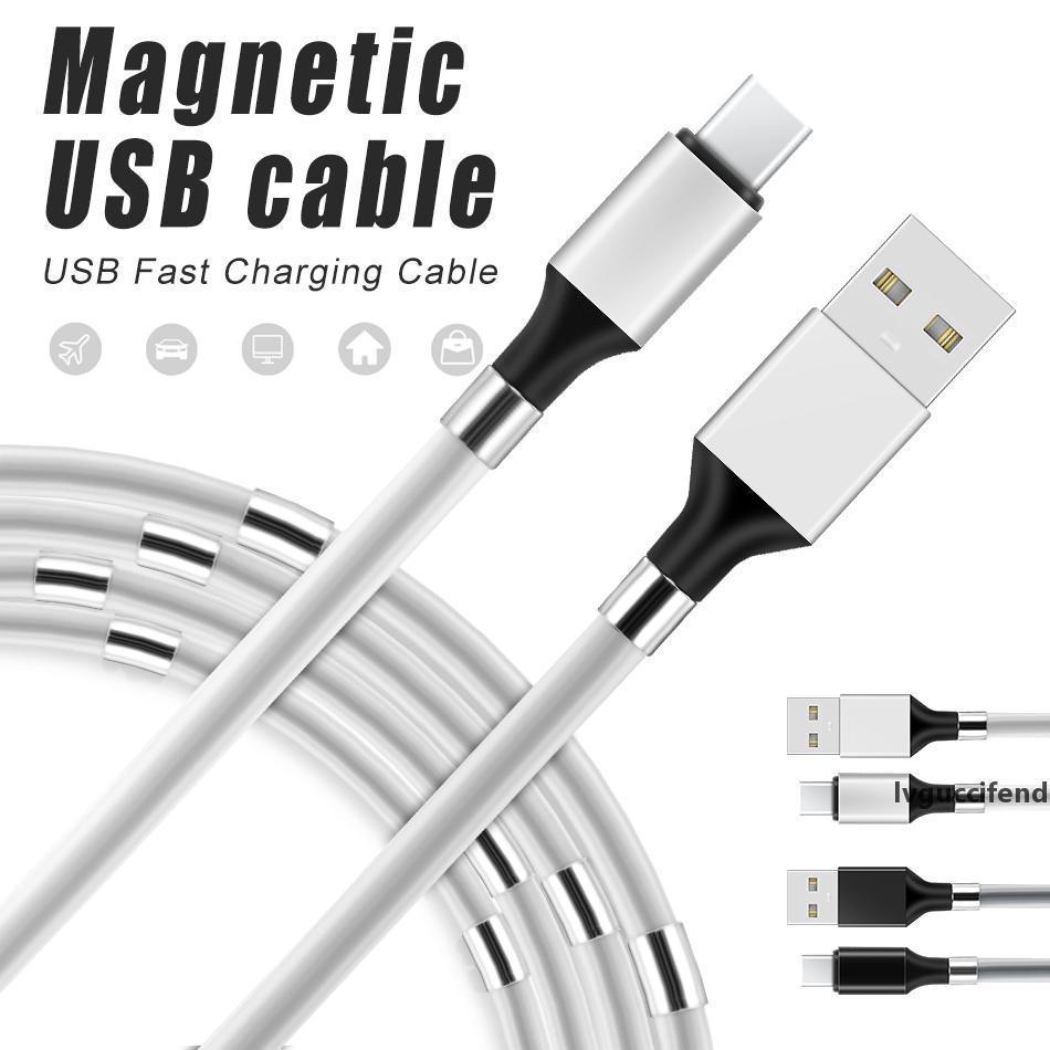 Магнитное кольцо Тип-C USB Зарядные кабели ПВХ Полупрозрачный чехол TPE Ослаждающиеся кабели для Samsung S10 S9 S8 Android смартфон с розничной коробкой