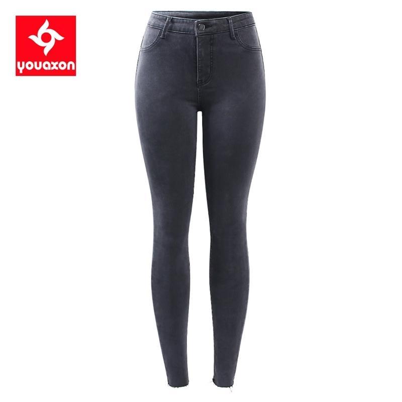 2231 Youaxon Yeni S-XXXXL AB Boyutu Koyu Gri Kot Kadınlar Artı Boyutu Sıkı Denim Kalem Sıska Pantolon Pantolon Kadınlar Için 201109