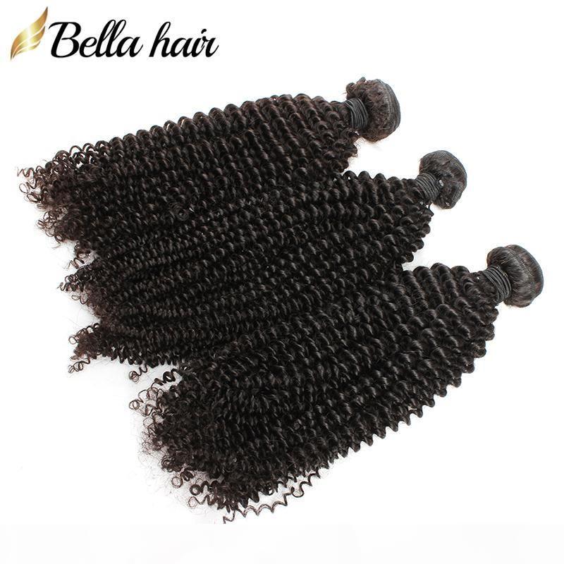 Rizado brasileño del pelo de la Virgen rizada teje extensiones del cabello humano Paquetes grado 7A 3pcs mucho color natural pequeño rizo Bellahair