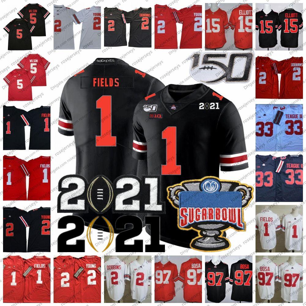2021 Ohio State Buckeyes Justin Fields Jersey Osu Playoff # 1 # 2 Chris Olave Chase Genç # 15 Elliott # 5 Garett Wilson Master Teague III