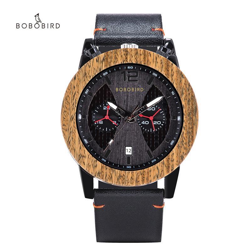 Montres-bracelets Reloj Hombre Top Marque Bobo Bird Mens Montres Wood Chronographe Montre-Bracard Auto Date de la qualité Mouvement Relogio Masculino cadeau