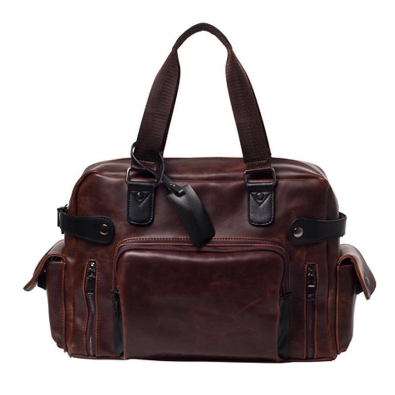 Weysfor Men PU Leather Briefcase Bag Travel Suitcase Messenger Shoulder Tote Back Handbag Large Casual Business Laptop Pocket Q0112