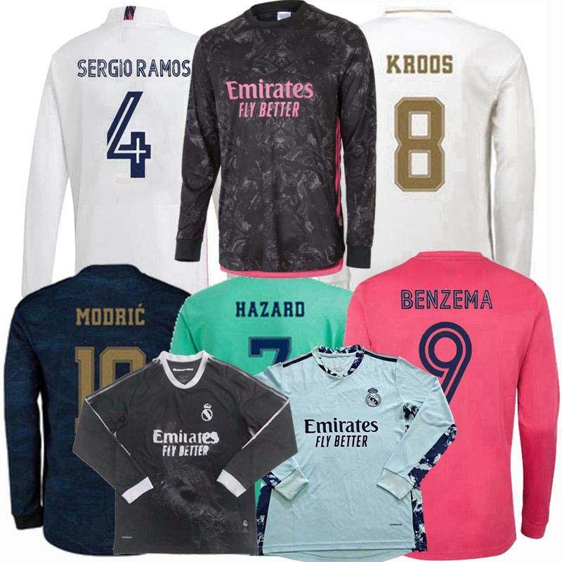 2020 2021 Real Madrid Manga Longa Futebol Jerseys Courtois Assens Marcelo Modric Ramos Hazard Benzema 20 21 Futebol