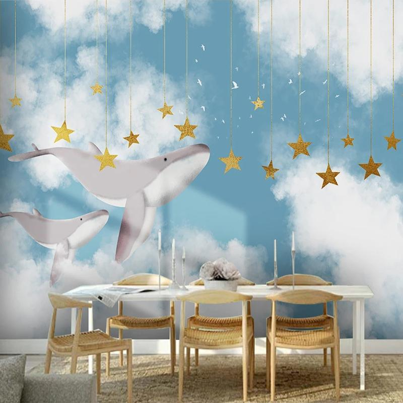 رسمت مخصص 3D صور خلفيات الإبداعية اليد سكاي الابيض الغيوم الكرتون الحوت نجوم الأطفال غرفة نوم الأولاد خلفية جدارية