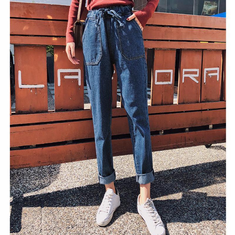 Kadınlar Yüksek Bel 2020 Vintage Harem Mavi Denim Pantolon Kadın Gevşek Jeans Bayan Boyfriends için Aisiyifushi