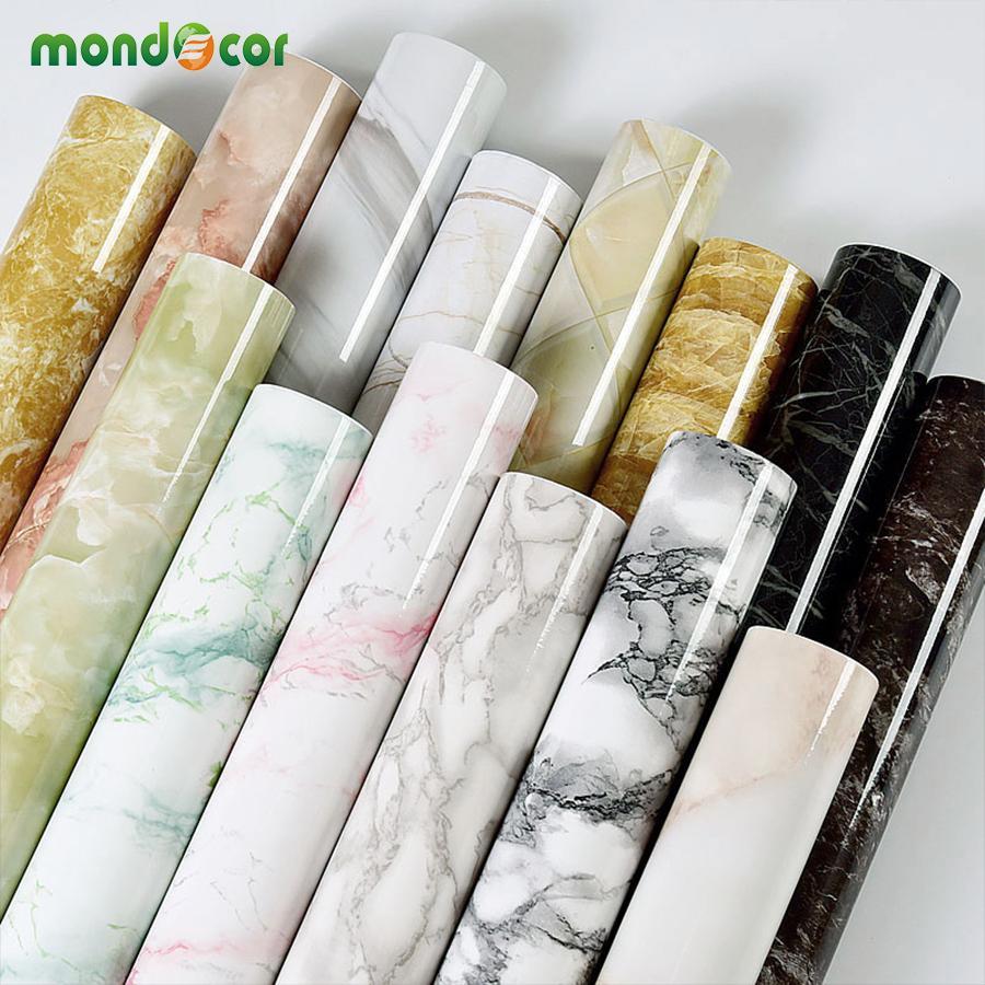 Glänzende Marmor Kontaktpapier DIY PVC Vinyl Küchenschrank Gegenseite Badezimmer Selbstklebende Tapete Home Decor Wandaufkleber 201203