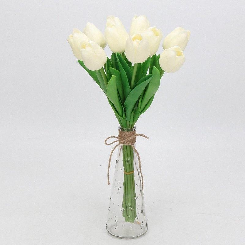 5pcs / lot de la belleza real táctiles PU flores falsas tulipanes artificiales de flores del ramo de flores ramo de novia decorar para MD42 de la boda #
