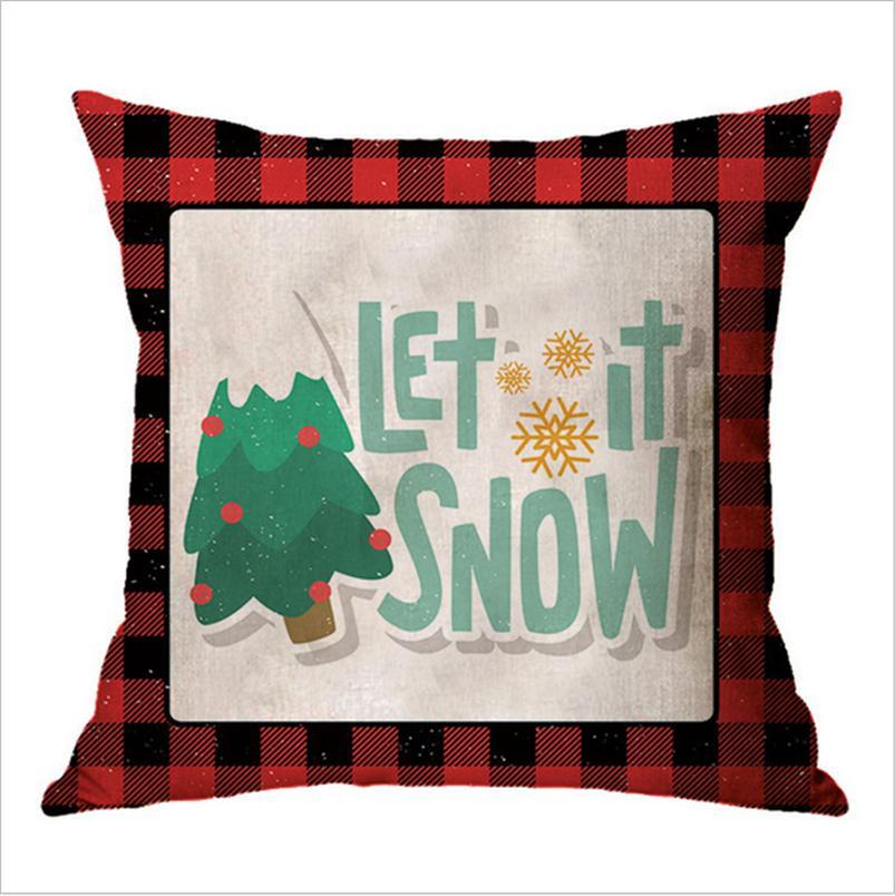 45*45cm Plaid Pillow Case Christmas Pillowcases Linen Xmas Designs Cartoon Printed Throw Pillow Covers Home Decorations Gifts E102602