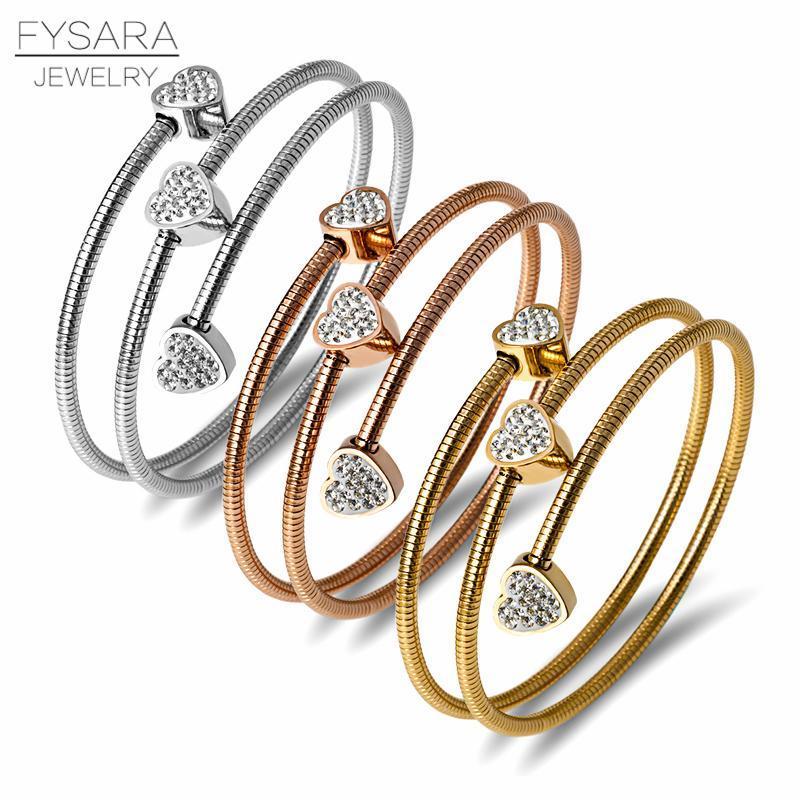 Fysara tre cerchi Wire Bracciali cavi dei braccialetti per le donne in acciaio inox Oro Black Heart rotonda di cristallo di fascino Bracciale bbytHg