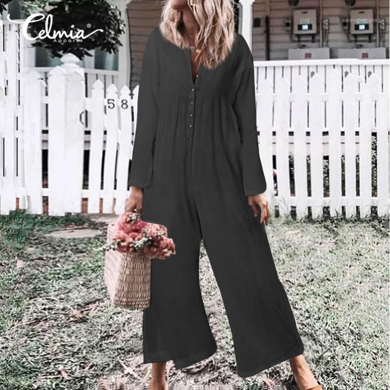 5xl Celmia Vintage Pumpsuits Mujeres Largos Rímesos Otoño Casual Botones Sólidos Playsuits Manga Larga Flojo Pantalones de pierna ancha Overse1